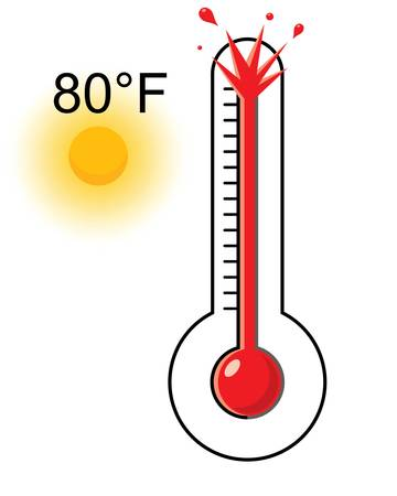 hot weather thermometer Vector illustration. Çizim