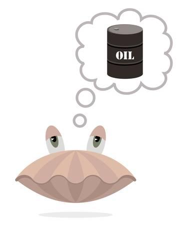 油のバレルと思考バブルと貝殻、面白い漫画スタイル  イラスト・ベクター素材