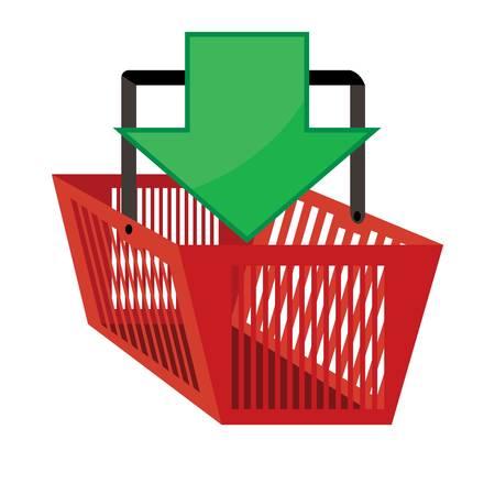 緑色の矢印が入った赤いショッピングバスケット