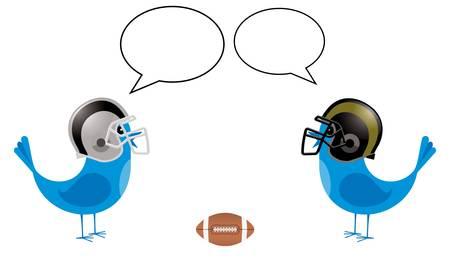 サッカーヘルメットを持つ鳥が話し、空白のスピーチバブルを持つ2つの小さな青い鳥  イラスト・ベクター素材