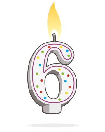 Number six shaped lit, birthday candle in colorful illustration.