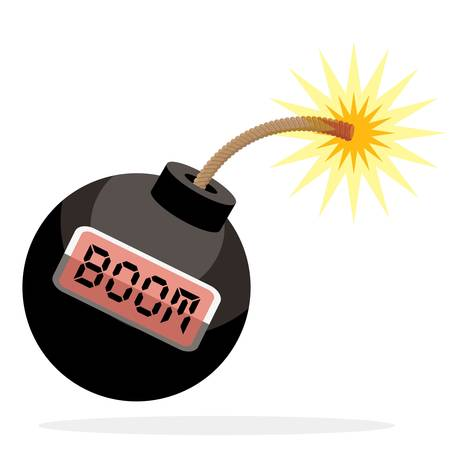 Bomb with digital timer in cartoon style illustration. Ilustração