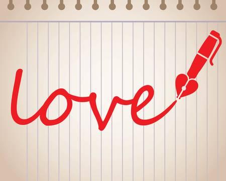 ハート型万年筆、赤い色のイラストで書かれた言葉愛。