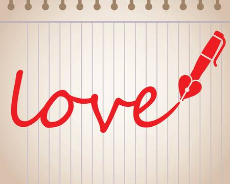 Word love written with heart shaped fountain pen, red color illustration. Ilustração
