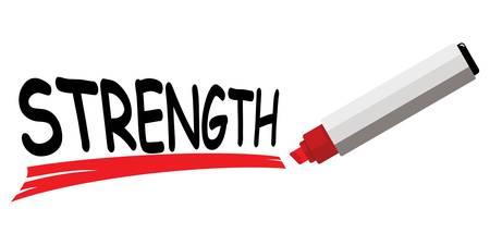 red marker underlining word strength Vector illustration. Illustration