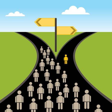 People on the crossroads.