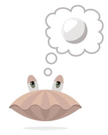 Escudo do mar com balão de pensamento e pérola nele. Foto de archivo - 88506360