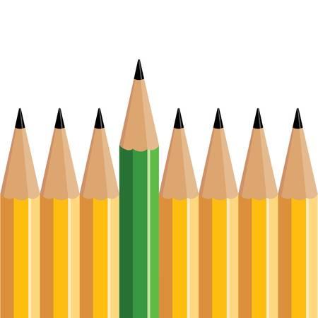 緑色鉛筆は、いくつかの黄色の鉛筆から立っています。
