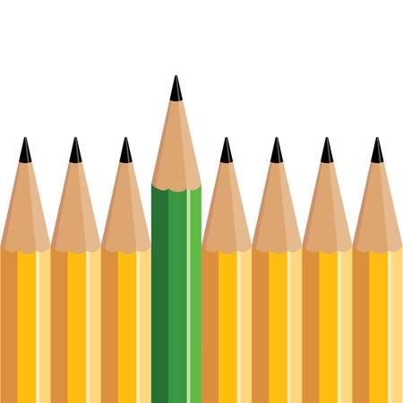 Green pencil stands out of several yellow pencils.