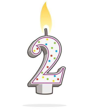 Number two shaped lit birthday candle. Illustration