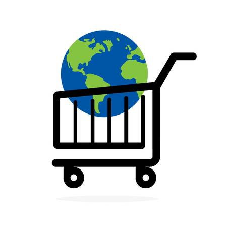 shopping cart with planet earth