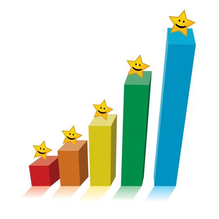 Chart graph with smiling yellow stars on top of colorful bars, business growth concept.