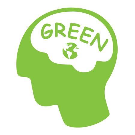 Concept de pensée verte, tête de silhouette verte avec mot vert et terre. Banque d'images - 88523711