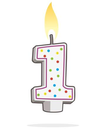Number One Shaped Lit Birthday Candle Stock Vector