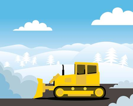 Yellow bulldozer pushing pile of snow. Illustration