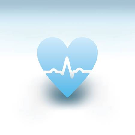 Blue heart with ECG line concept. Illustration