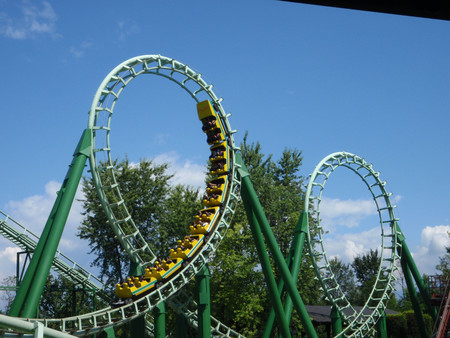 Roller coaster in an amusement park in northern Italy
