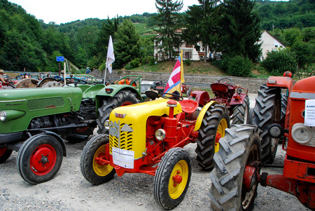 Old tractors at an exhibition in Langhe, Piedmont - Italy