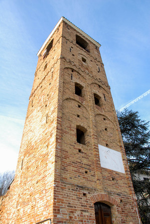 The old Bell tower in Santa Vittoria of Alba, Piedmont - Italy 写真素材