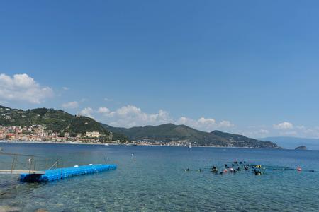 Diving in the sea at Noli, Liguria - Italy