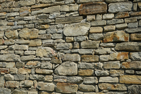 External wall of a country house in Cortemilia built with Langa stones, Piedmont - Italy