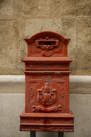 An old red letterbox