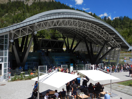 Courmayeur, Valle dAosta - Italy. Seat of departure for the Sky Way, August 2018 Editorial