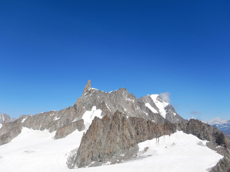 Panoramic view of the Mont Blanc Massif: tooth of the Giant