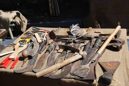 old working tools with blades to be sharpened