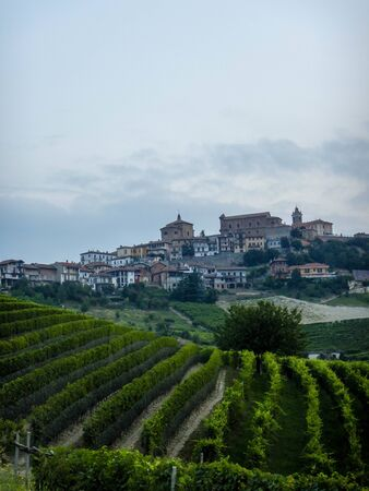 The hills, vineyards and view of La Morra in the Langhe, Piedmont - Italy
