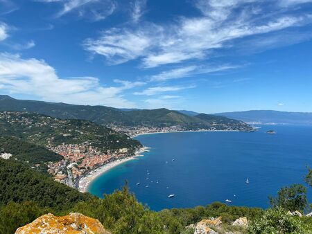 Panoramic view of the bay in front of Noli, Spotorno and Bergeggi, Liguria - Italy