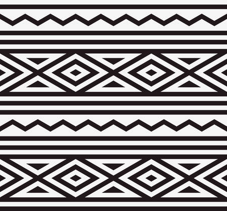 three dimensions: abstract ethnic pattern background with monochrome Illustration