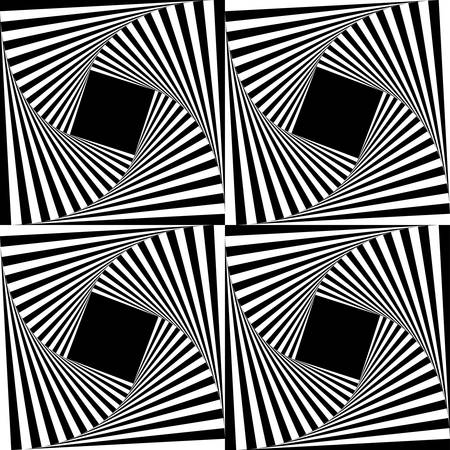Abstract square optical illusion with black and white