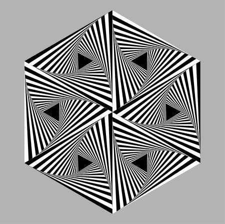 Abstract triangle optical illusion with black and white