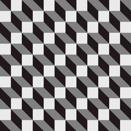 three dimensions: seamless cubic pattern with monochrome