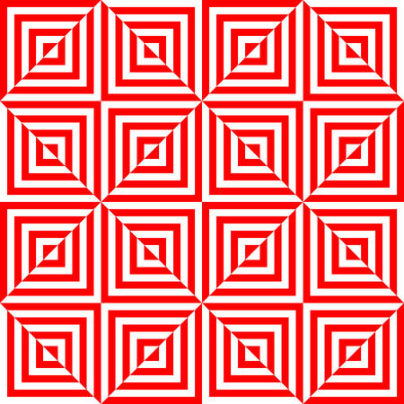 disappearing point: red and white optical illusion stripes triangle pattern