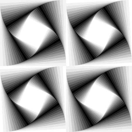 disappearing point: Abstract square optical illusion with monochrome.gradient Illustration