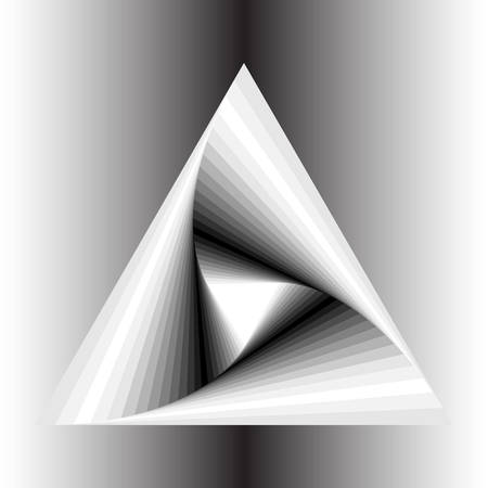 disappearing point: abstract triangle spiral with monochrome