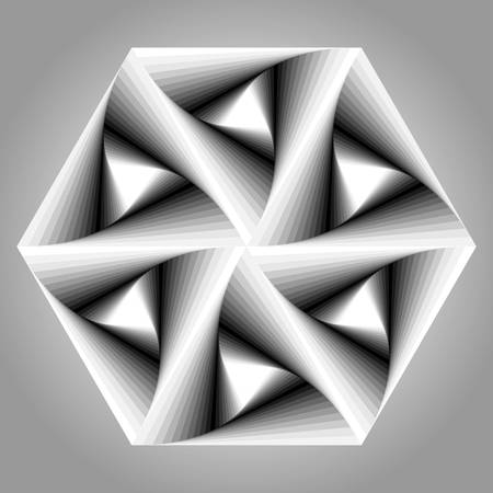 disappearing point: Abstract triangle optical illusion with black and white.gradient Illustration