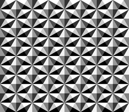 three dimensions: seamless hexagon pattern with monochrome.rhombus pattern