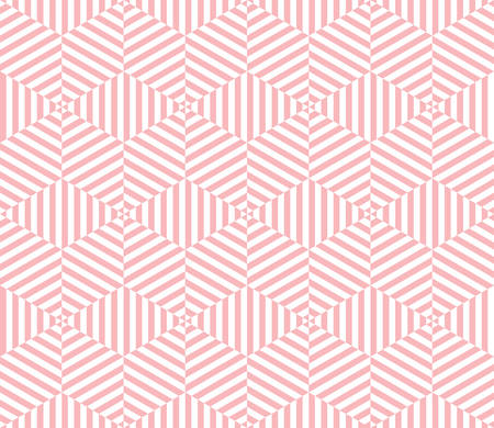 tone on tone: geometric hexagon pattern background with optical illusion.pink tone
