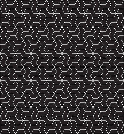 three dimensions: Abstract seamless geometric pattern with interlaced grids.minimal textures.black and white Illustration