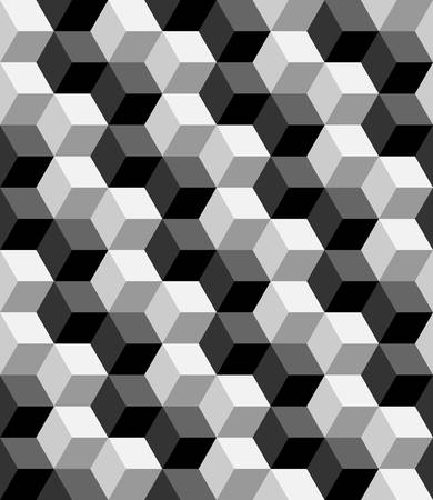 three dimensions: seamless cubic pattern with monochrome.optical pattern.vector
