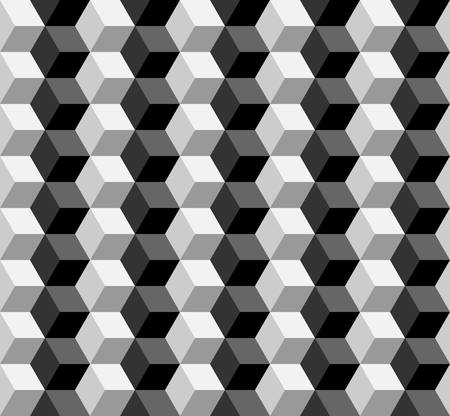 three dimensions: seamless cubic pattern with monochrome.vector