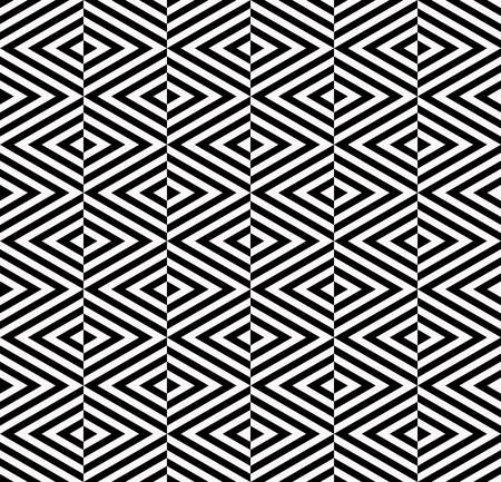 three dimensions: Abstract rhombus seamless pattern with black and white.triangle pattern background Illustration