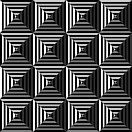 disappearing point: geometric optical art with black and white.triangle pattern background.vector