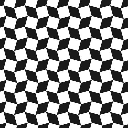 three dimensions: Seamless geometric pattern.black and white .simple rotating squares background