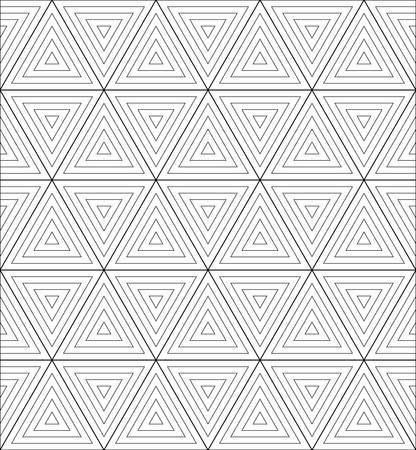 cubic: geometric cubic pattern background.optical illusion triangle.black and white line art