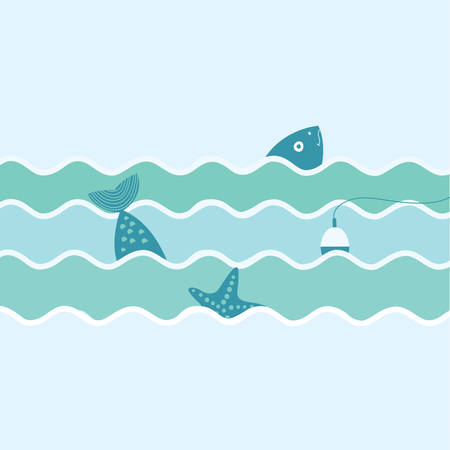 flat illustration of fish and float and starfish. Fishing trip