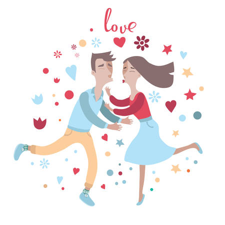 romantic couples: Funny vector illustration of couple in love kiss each other Illustration